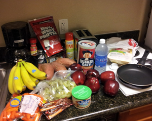 Right after checking into this hotel (which I made sure had a kitchen), I went food shopping