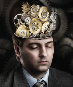 Man with cogwheel mechanism