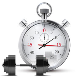 Vector Illustration of dumbbell and stopwatch.