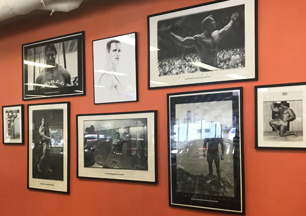 """The """"Arnold Shrine"""" at the Body Shop Gym, Mammoth Lakes. California, Elevation 7,880 feet"""