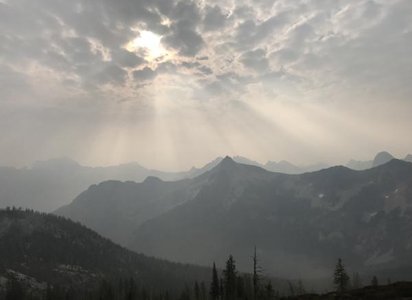 Cutthroat Pass, North Cascade Mountains. Spectacular even through the smoky haze