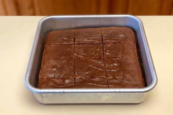 sweet potato brownies cut in the baking pan