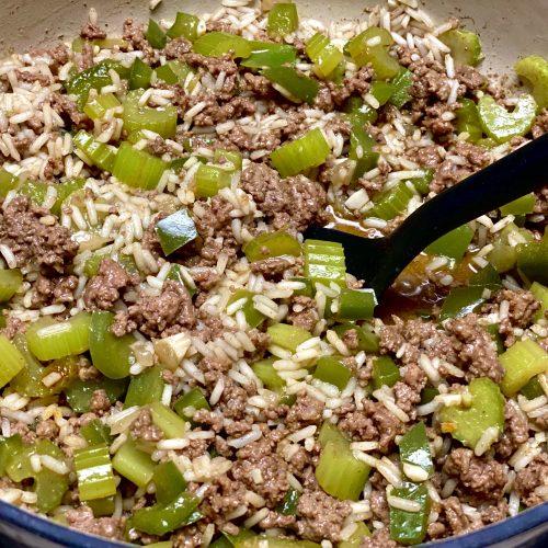 creole rice with ground beef aka dirty rice