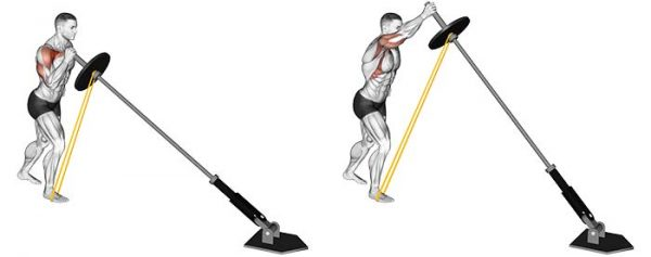 landmine press with resistance band
